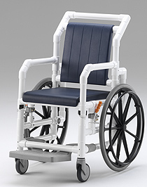 Shower and transport wheelchair with removable soft padding: calm and comfortable